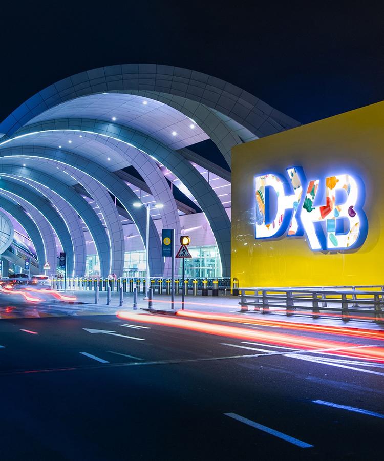 View from Premier Inn Dubai International Hotel overlooking the Dubai Airport runway at night